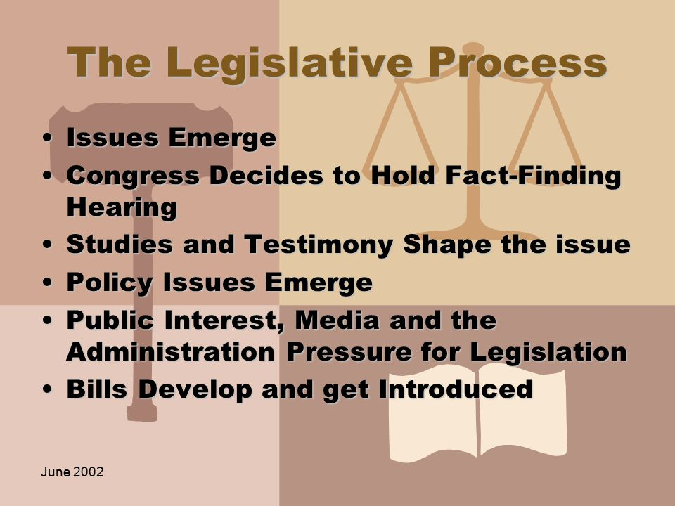June 2002 The Legislative Process Issues EmergeIssues Emerge Congress Decides to Hold Fact-Finding HearingCongress Decides to Hold Fact-Finding Hearing Studies and Testimony Shape the issueStudies and Testimony Shape the issue Policy Issues EmergePolicy Issues Emerge Public Interest, Media and the Administration Pressure for LegislationPublic Interest, Media and the Administration Pressure for Legislation Bills Develop and get IntroducedBills Develop and get Introduced
