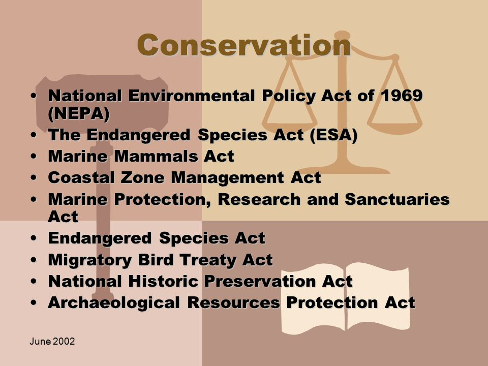 June 2002 Conservation National Environmental Policy Act of 1969 (NEPA)National Environmental Policy Act of 1969 (NEPA) The Endangered Species Act (ESA)The Endangered Species Act (ESA) Marine Mammals ActMarine Mammals Act Coastal Zone Management ActCoastal Zone Management Act Marine Protection, Research and Sanctuaries ActMarine Protection, Research and Sanctuaries Act Endangered Species ActEndangered Species Act Migratory Bird Treaty ActMigratory Bird Treaty Act National Historic Preservation ActNational Historic Preservation Act Archaeological Resources Protection ActArchaeological Resources Protection Act