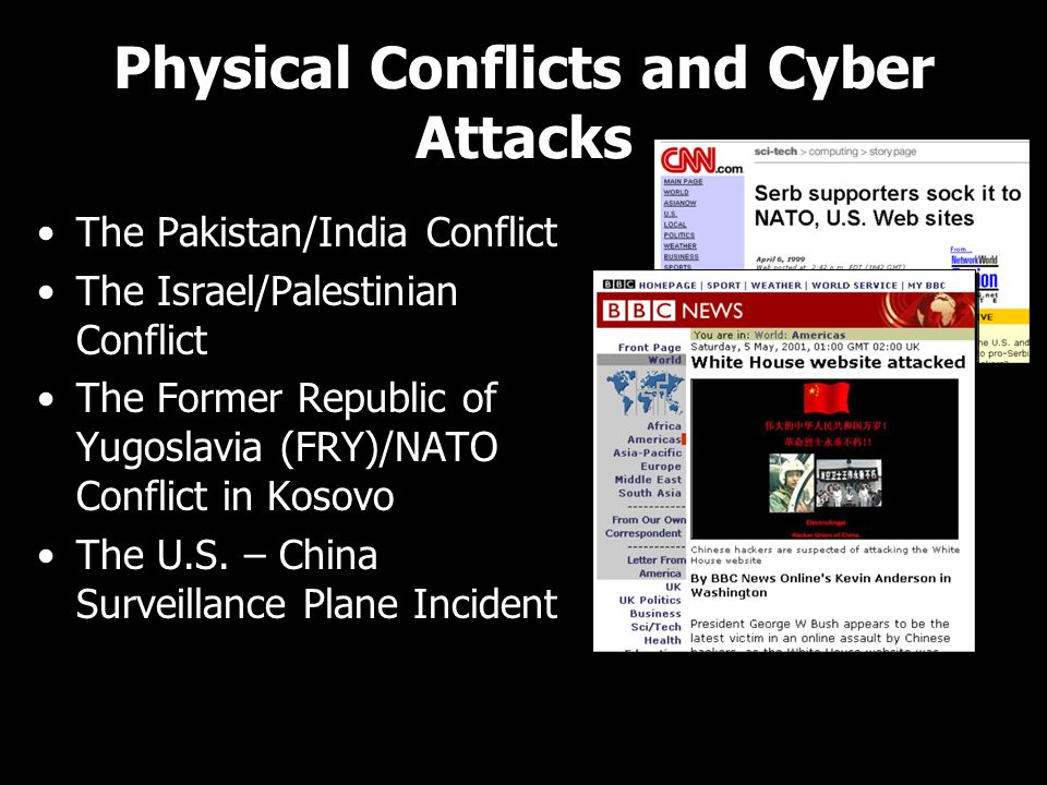 Physical Conflicts and Cyber Attacks The Pakistan/India Conflict The Israel/Palestinian Conflict The Former Republic of Yugoslavia (FRY)/NATO Conflict in Kosovo The U.S.