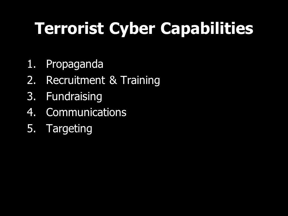 Terrorist Cyber Capabilities 1.Propaganda 2.Recruitment & Training 3.Fundraising 4.Communications 5.Targeting 1.Propaganda 2.Recruitment & Training 3.