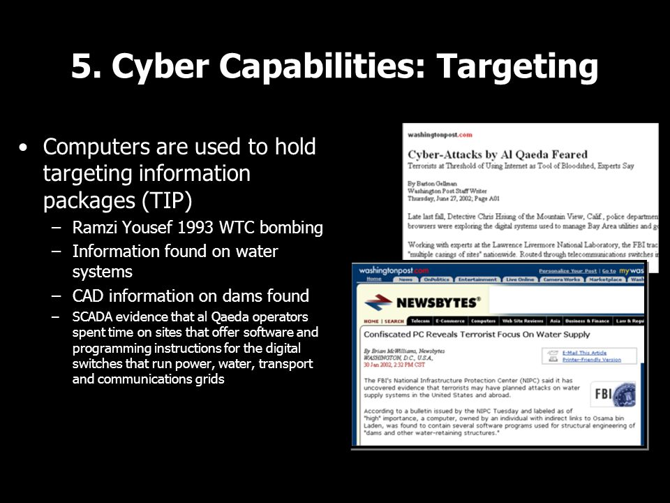 5. Cyber Capabilities: Targeting Computers are used to hold targeting information packages (TIP) –Ramzi Yousef 1993 WTC bombing –Information found on
