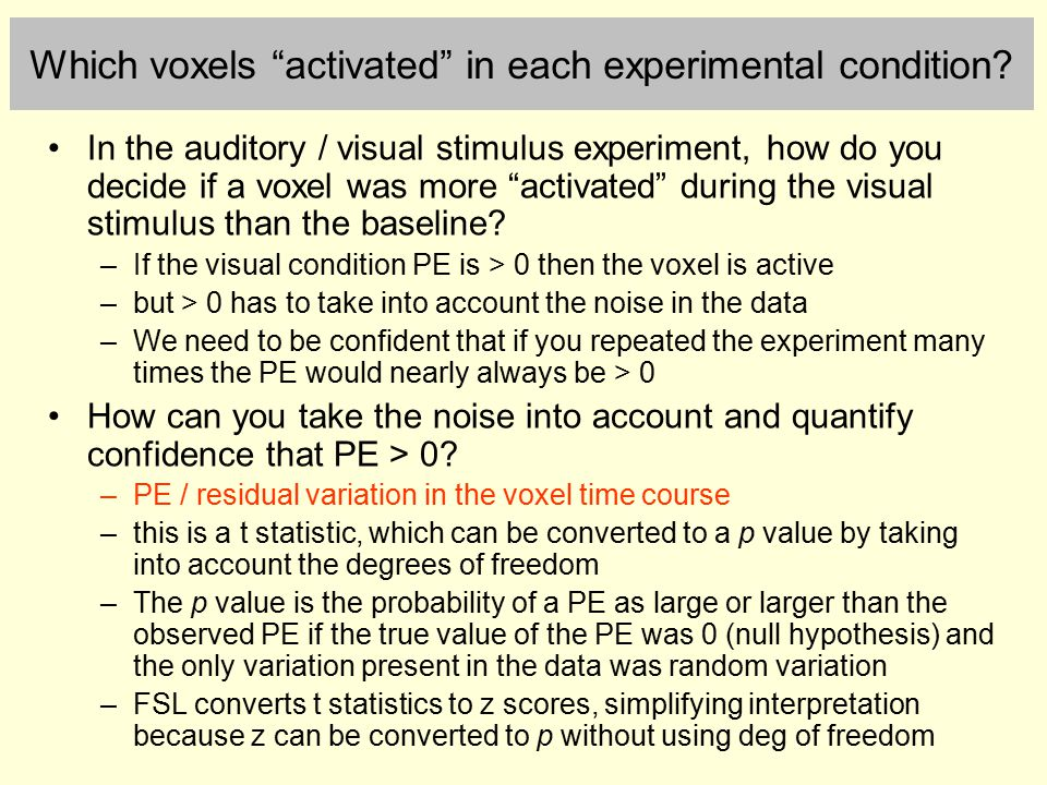 Which voxels activated in each experimental condition.