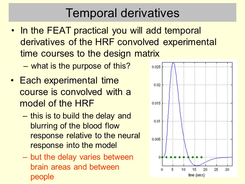 Temporal derivatives In the FEAT practical you will add temporal derivatives of the HRF convolved experimental time courses to the design matrix –what is the purpose of this.