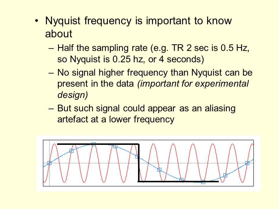 Nyquist frequency is important to know about –Half the sampling rate (e.g.