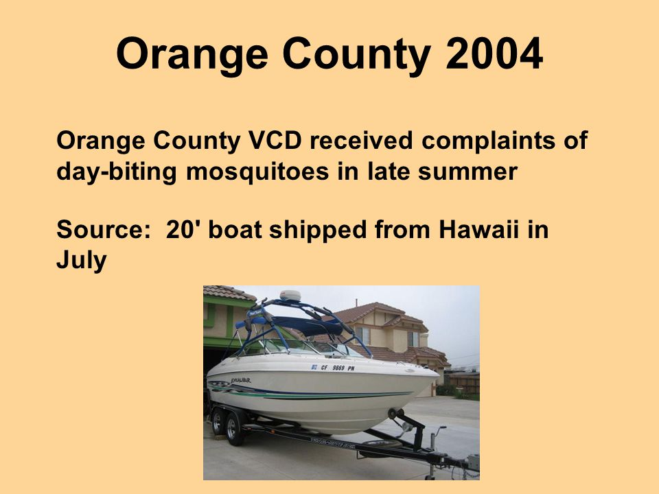 Orange County 2004 Orange County VCD received complaints of day-biting mosquitoes in late summer Source: 20' boat shipped from Hawaii in July