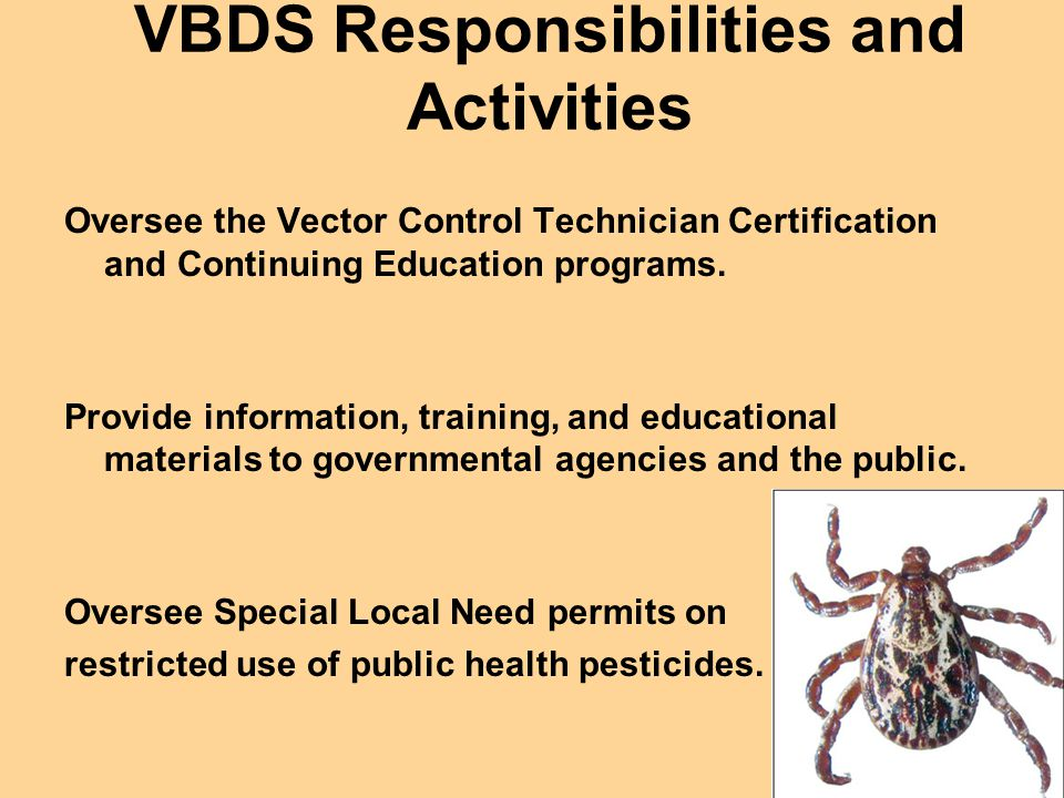 VBDS Responsibilities and Activities Oversee the Vector Control Technician Certification and Continuing Education programs.