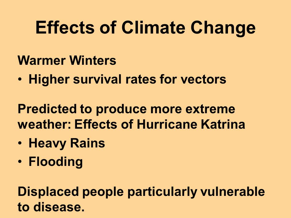 Effects of Climate Change Warmer Winters Higher survival rates for vectors Predicted to produce more extreme weather: Effects of Hurricane Katrina Hea