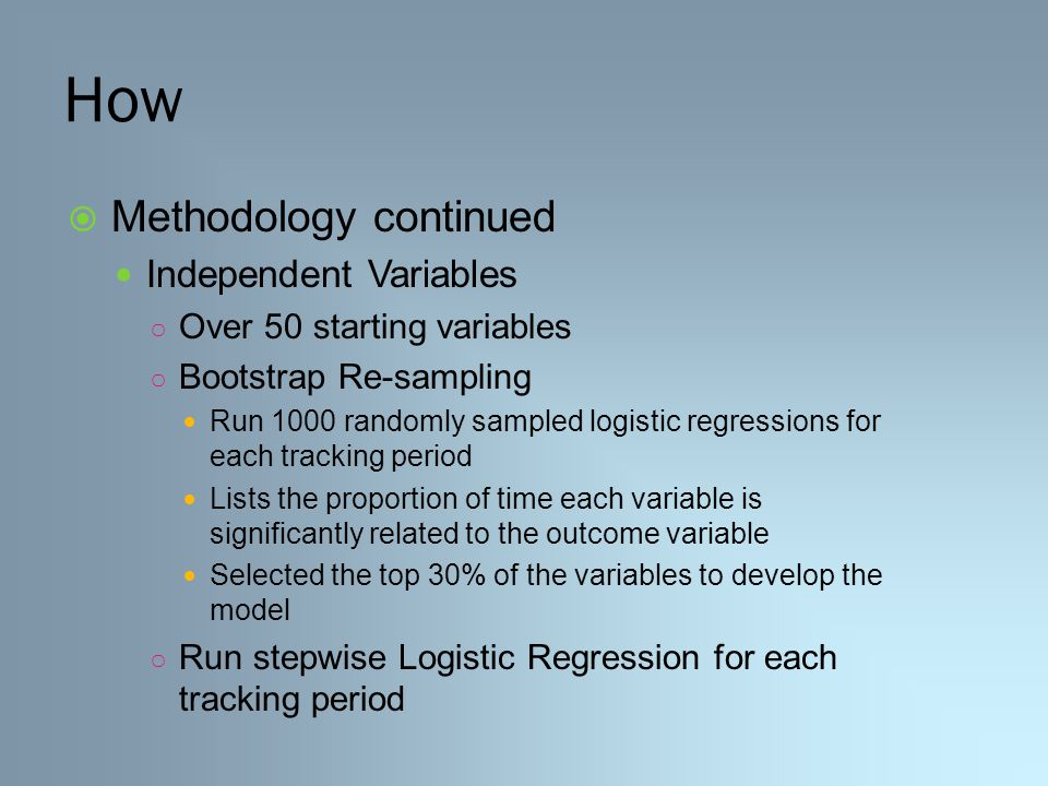 How  Methodology continued Independent Variables ○ Over 50 starting variables ○ Bootstrap Re-sampling Run 1000 randomly sampled logistic regressions for each tracking period Lists the proportion of time each variable is significantly related to the outcome variable Selected the top 30% of the variables to develop the model ○ Run stepwise Logistic Regression for each tracking period