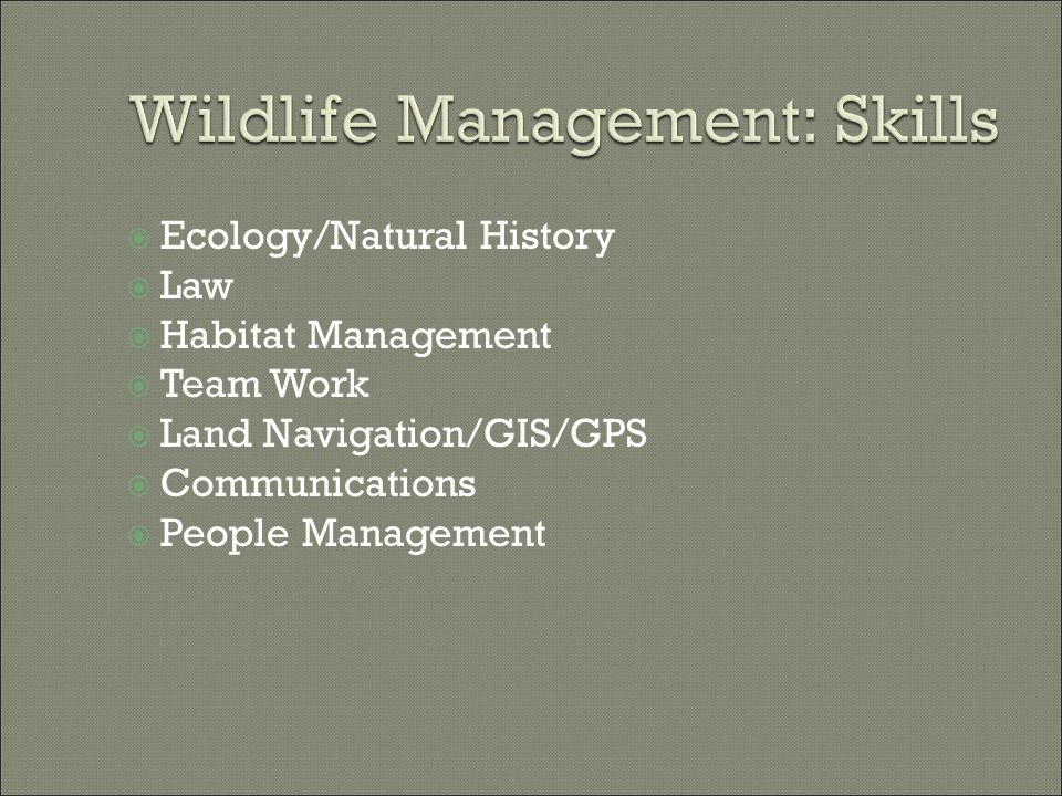  Early US/Colonial: game laws  1800s: Increased regulation of game  1900s: Gifford Pinchot Resource Conservation Ethic  1930s: Aldo Leopold, father of wildlife management, Game Management  1937: Pittman-Robertson Act, 10% tax on hunting arms and ammo for research and management by states