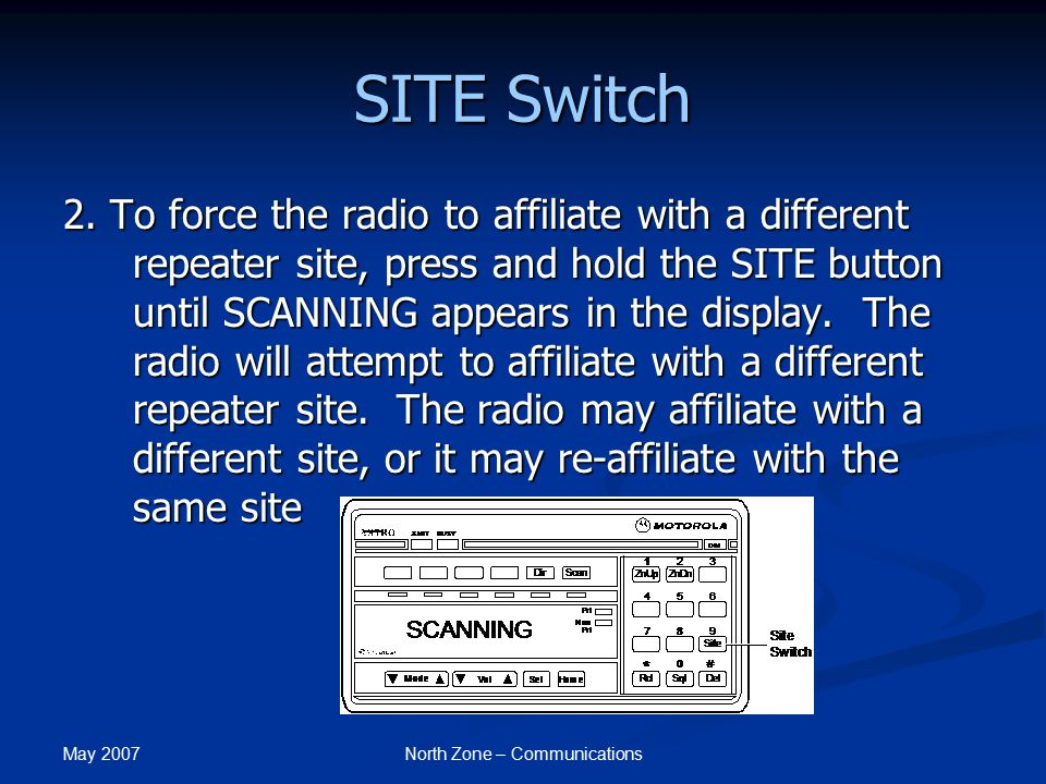 May 2007 North Zone – Communications SITE Switch 2. To force the radio to affiliate with a different repeater site, press and hold the SITE button unt