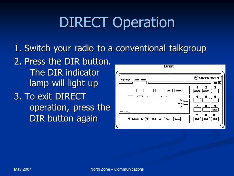 May 2007 North Zone – Communications DIRECT Operation 1. Switch your radio to a conventional talkgroup 2. Press the DIR button. The DIR indicator lamp