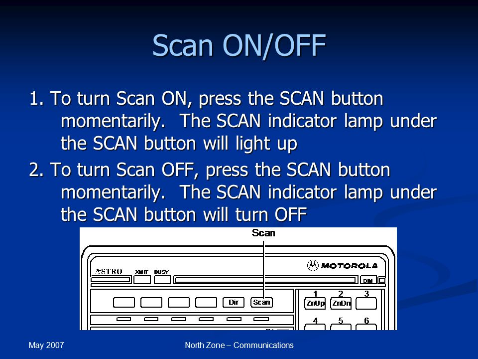 May 2007 North Zone – Communications Scan ON/OFF 1. To turn Scan ON, press the SCAN button momentarily. The SCAN indicator lamp under the SCAN button