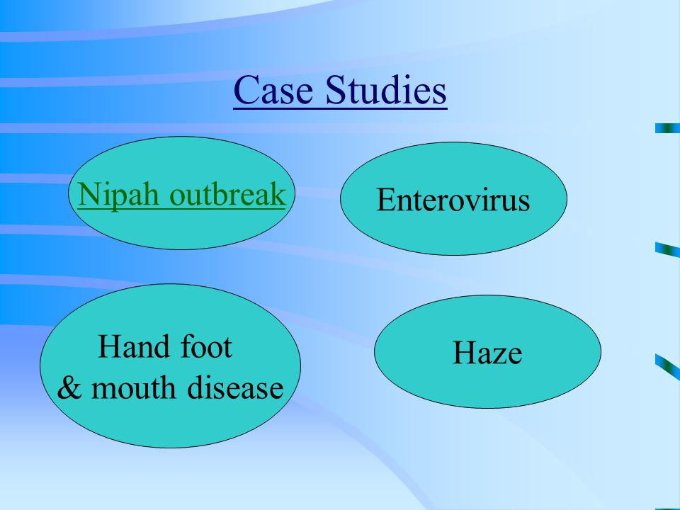 Case Studies Nipah outbreak Enterovirus Hand foot & mouth disease Haze