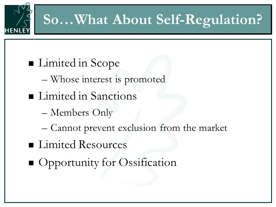 So…What About Self-Regulation.