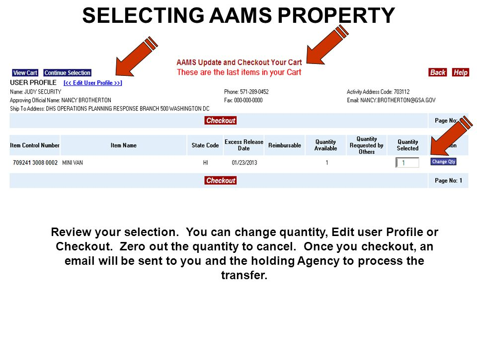 SELECTING AAMS PROPERTY Review your selection.