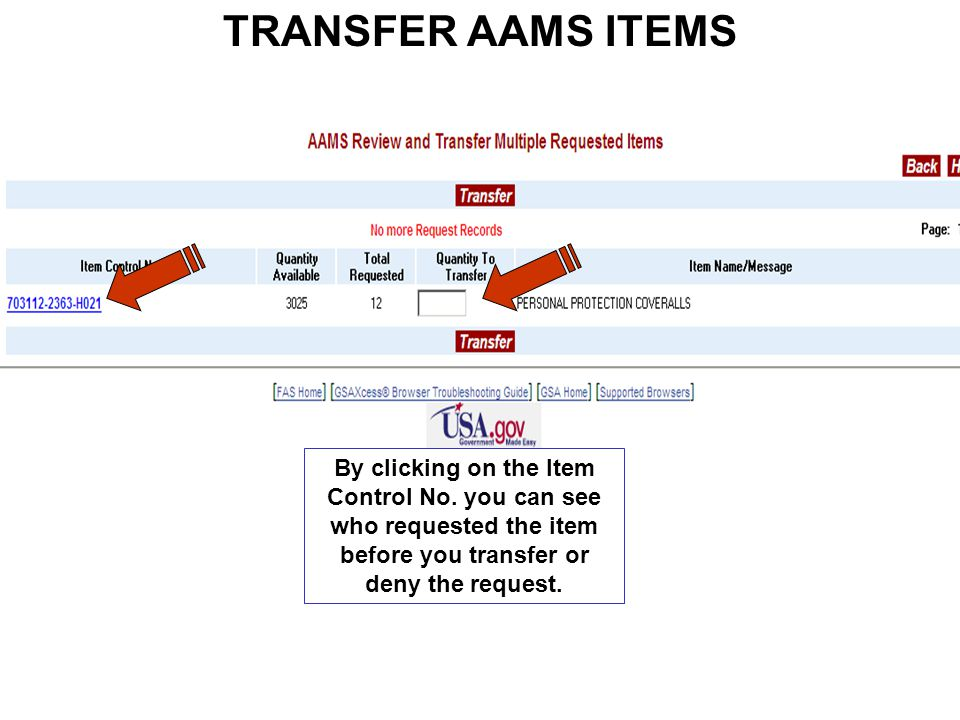 TRANSFER AAMS ITEMS By clicking on the Item Control No.