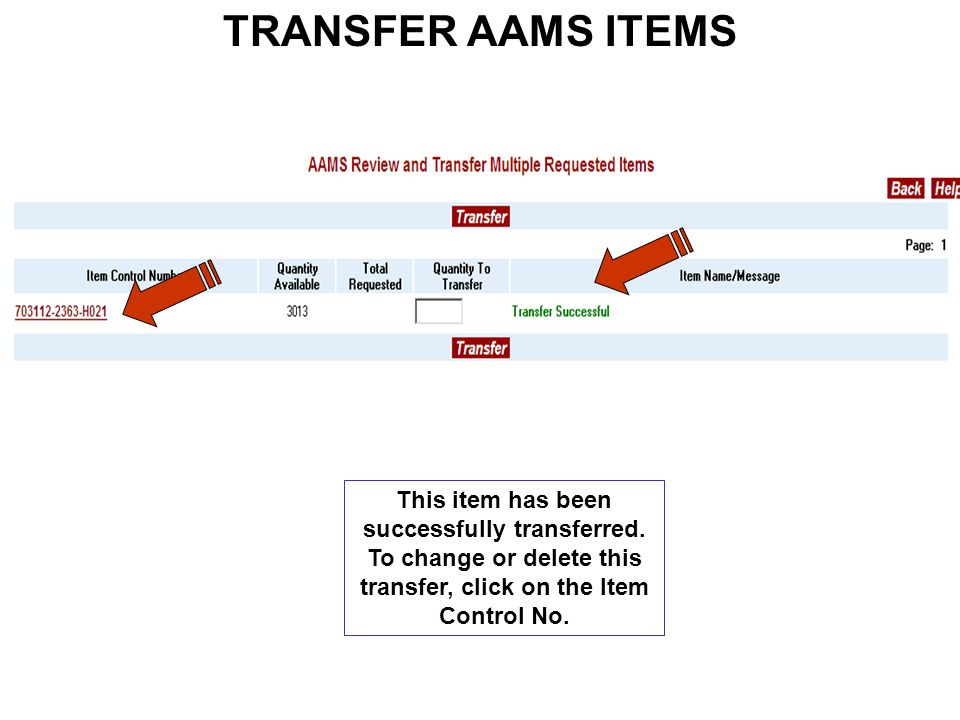 TRANSFER AAMS ITEMS This item has been successfully transferred.