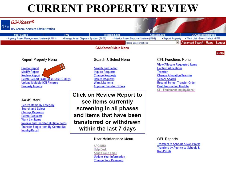 CURRENT PROPERTY REVIEW Click on Review Report to see items currently screening in all phases and items that have been transferred or withdrawn within the last 7 days
