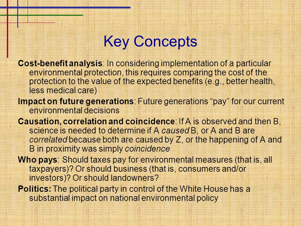 The Federal Framework National Environmental Policy Act (NEPA): 1970 federal law committing federal government to use all practicable means to conduct its affairs to promote the general welfare and operate in harmony with the environment Council on Environmental Quality (CEQ): Conducts studies, collects information, develops policy and legislative proposals for president and Congress Environmental Impact Statement (EIS): NEPA requires all proposals for legislation and other major federal action significantly affecting the quality of the human environment be accompanied by an EIS explaining impact on environment and detailing reasonable alternatives; a major private-sector action supported by federal funding or requiring federal permission may also require an EIS Environmental Protection Agency (EPA): Duties include (1) gathering information, (2) conducting research, (3) assisting state and local pollution control efforts, and (4) administering many federal environmental laws