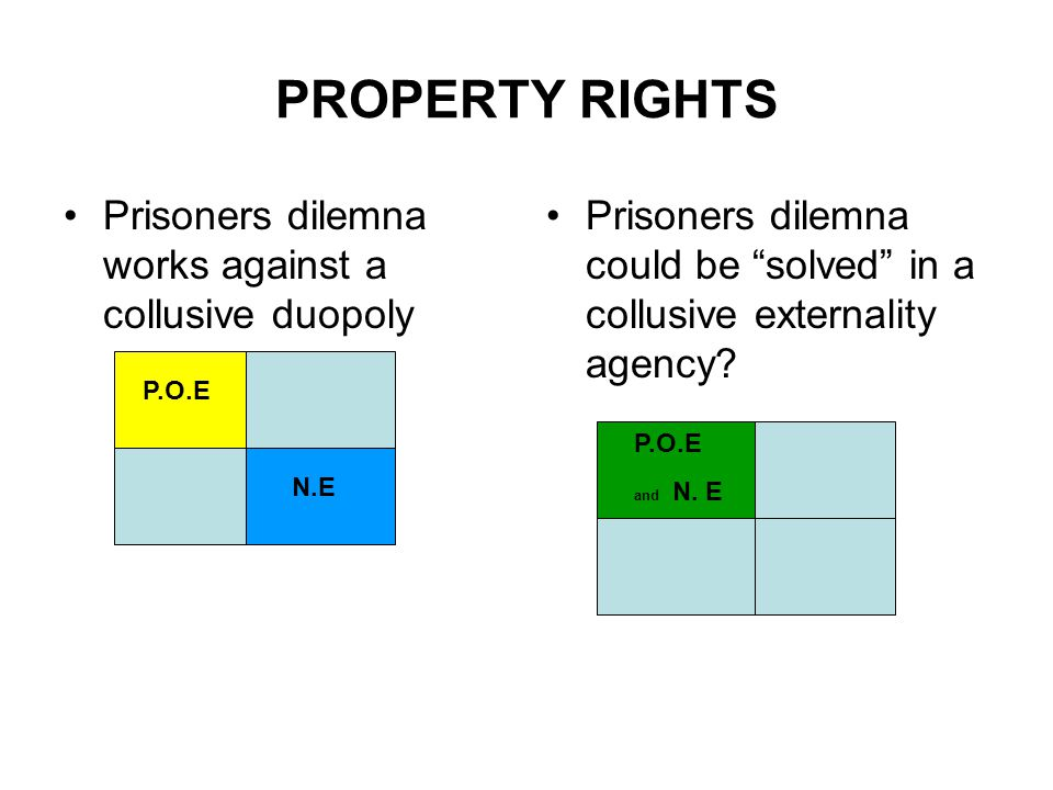PROPERTY RIGHTS Prisoners dilemna works against a collusive duopoly Prisoners dilemna could be solved in a collusive externality agency.