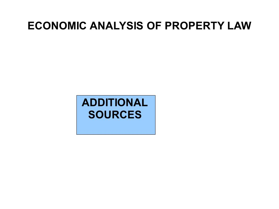 ECONOMIC ANALYSIS OF PROPERTY LAW ADDITIONAL SOURCES