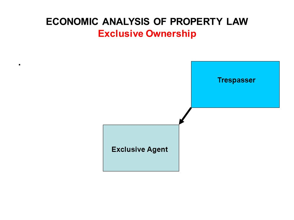 ECONOMIC ANALYSIS OF PROPERTY LAW Exclusive Ownership. Exclusive Agent Trespasser