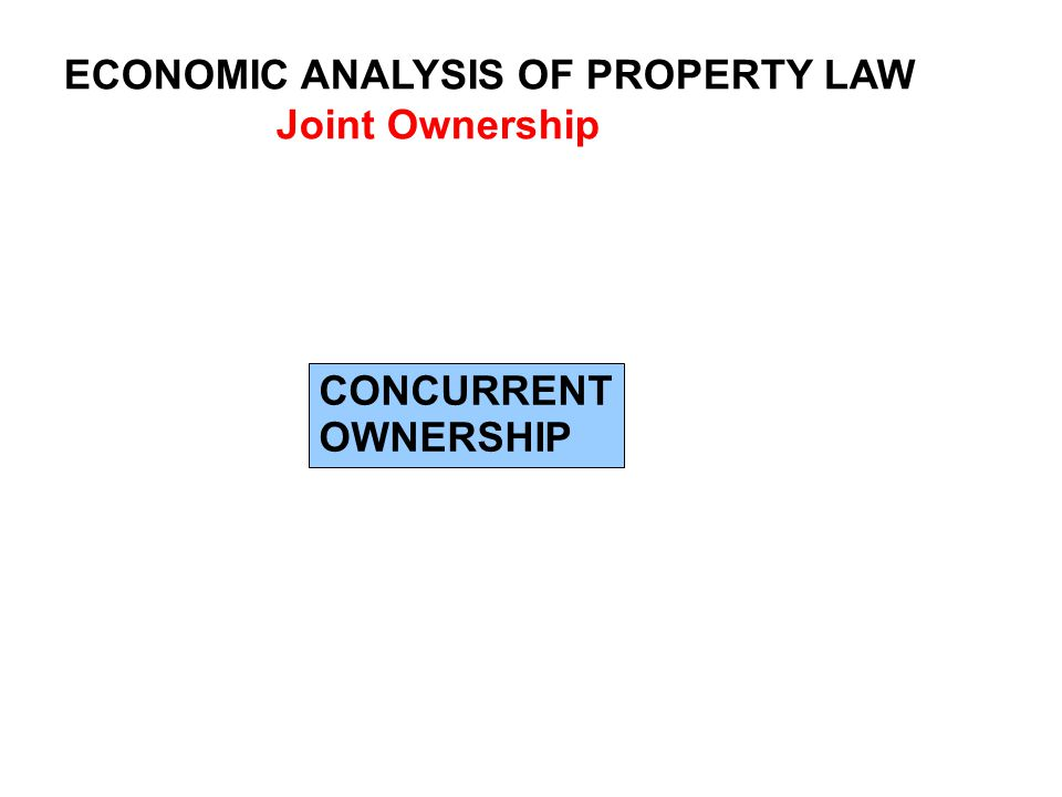 ECONOMIC ANALYSIS OF PROPERTY LAW Joint Ownership CONCURRENT OWNERSHIP