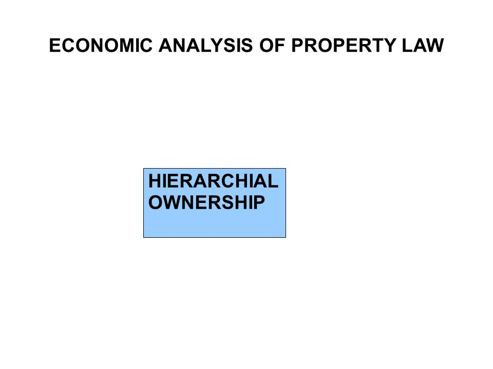 ECONOMIC ANALYSIS OF PROPERTY LAW HIERARCHIAL OWNERSHIP