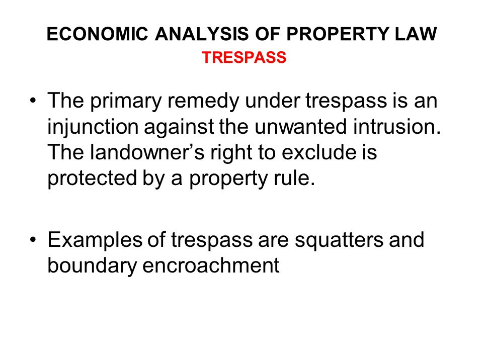 ECONOMIC ANALYSIS OF PROPERTY LAW TRESPASS The primary remedy under trespass is an injunction against the unwanted intrusion.