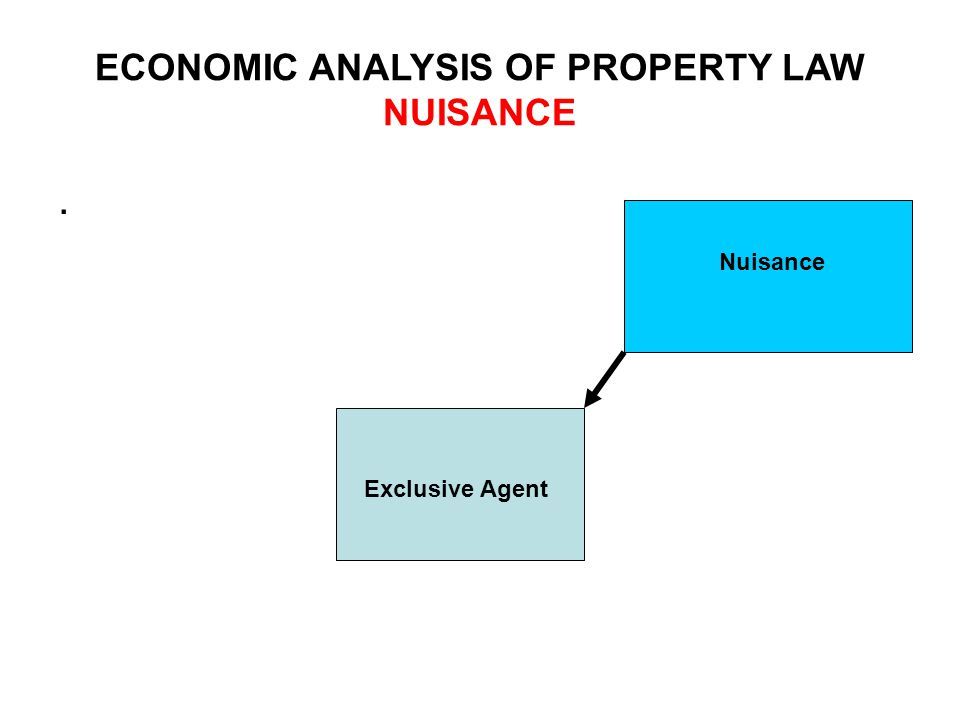ECONOMIC ANALYSIS OF PROPERTY LAW NUISANCE. Exclusive Agent Nuisance