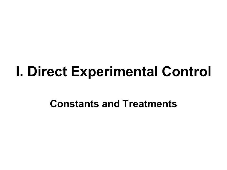 I. Direct Experimental Control Constants and Treatments