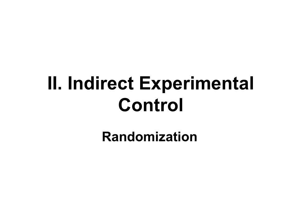 II. Indirect Experimental Control Randomization