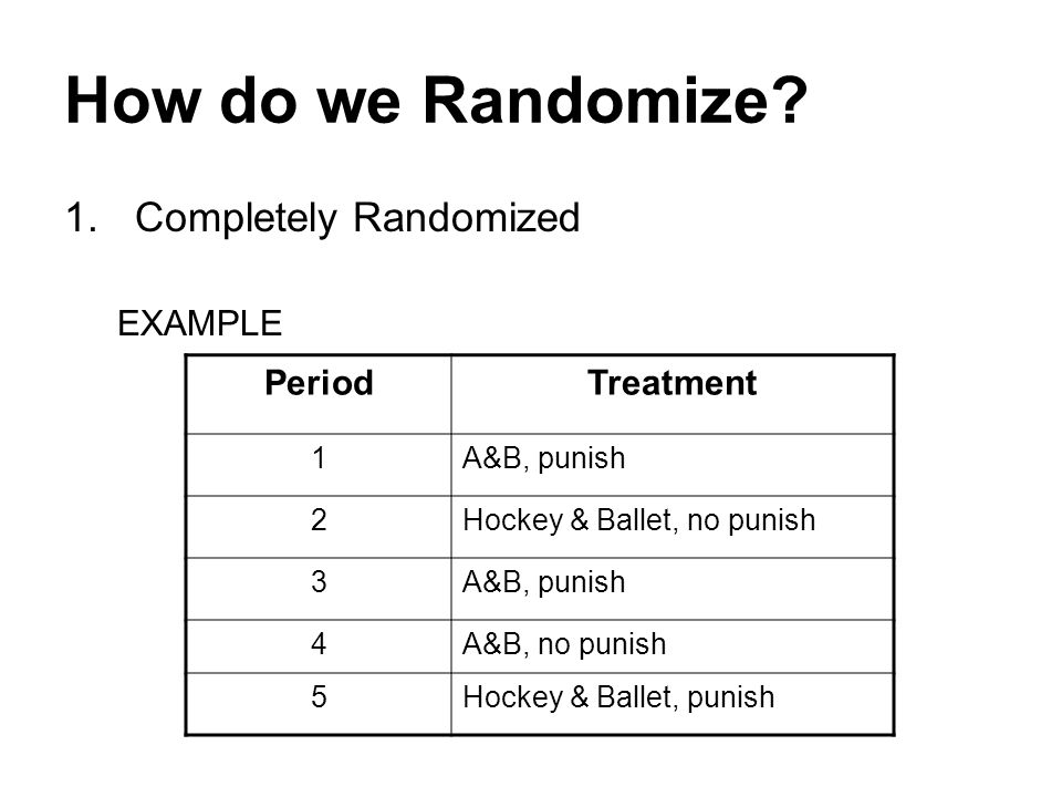 How do we Randomize.