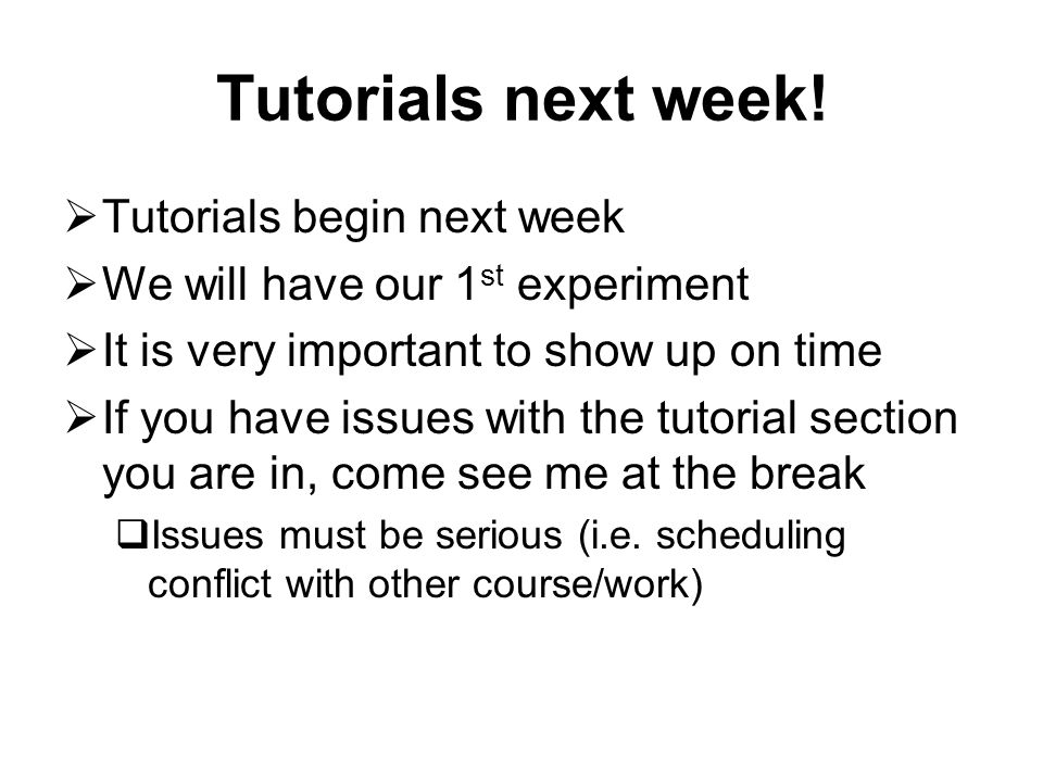 Course Schedule DateLectureTutorial May 9IntroductionNO TUTORIALS May 16Experimental DesignNO TUTORIALS May 23NO CLASSESExperiment #1: Markets May 30Data Analysis: QualitativeNO TUTORIALS June 6Data Analysis: QuantitativeExperiment #2: Public Good June 13MarketsHow to use excel, Sample questions June 20Public GoodsASS#1 due June 27MIDTERMNO TUTORIALS July 4Game TheoryExperiment #3: Ultimatum July 11Social PreferencesExperiment #4: Crime July 18Social IDSample questions July 25CrimeASS #2 due August 1NO CLASSESNO TUTORIALS August 8DevelopmentNO TUTORIALS