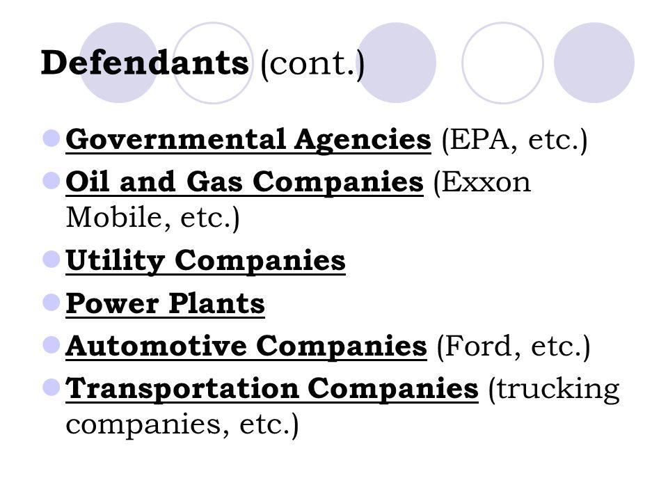 Defendants (cont.) Governmental Agencies (EPA, etc.) Oil and Gas Companies (Exxon Mobile, etc.) Utility Companies Power Plants Automotive Companies (Ford, etc.) Transportation Companies (trucking companies, etc.)