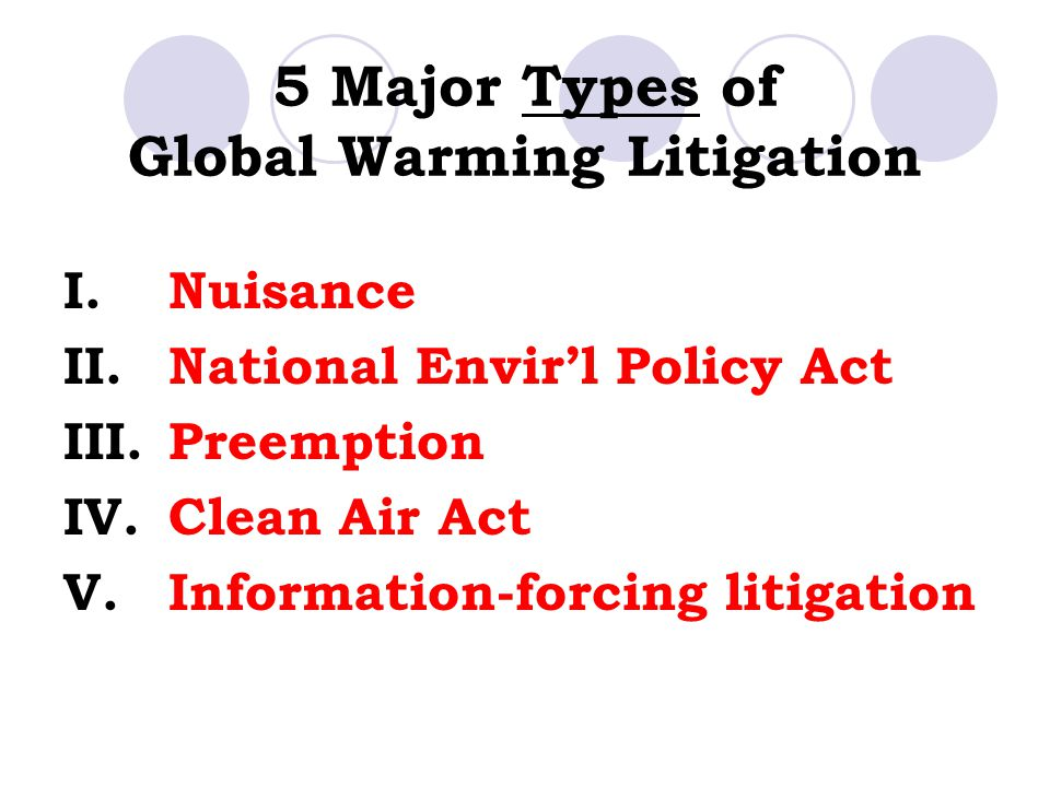 5 Major Types of Global Warming Litigation I.Nuisance II.National Envir'l Policy Act III.Preemption IV.Clean Air Act V.Information-forcing litigation