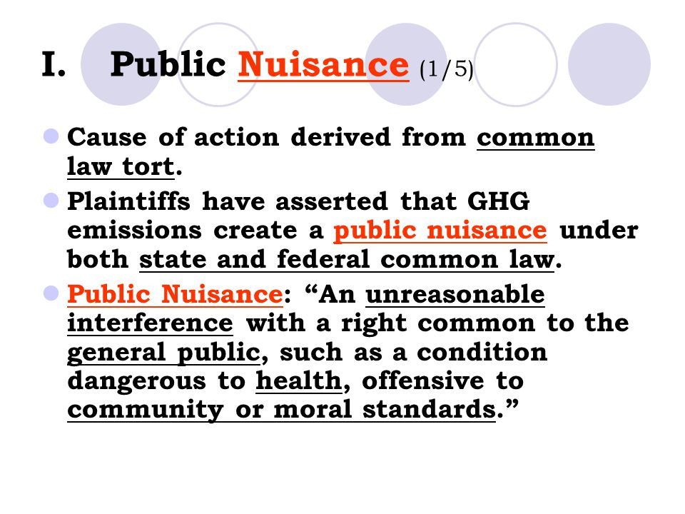 I.Public Nuisance (1/5) Cause of action derived from common law tort.