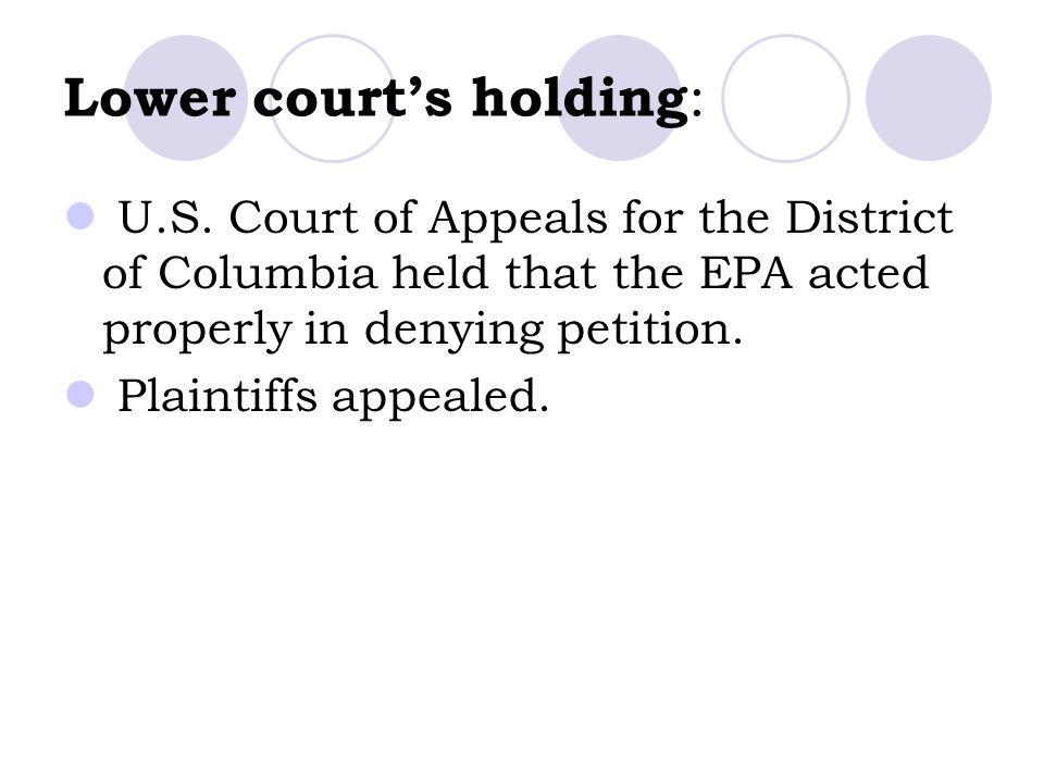 Lower court's holding : U.S.