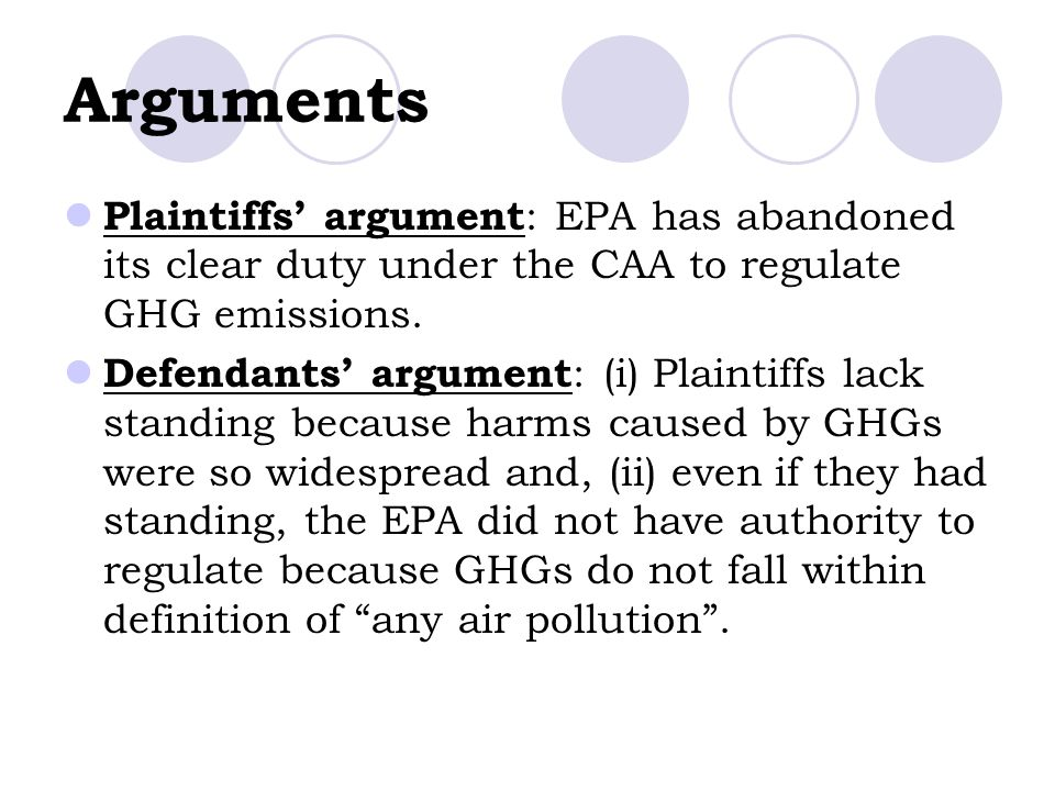 Arguments Plaintiffs' argument : EPA has abandoned its clear duty under the CAA to regulate GHG emissions.