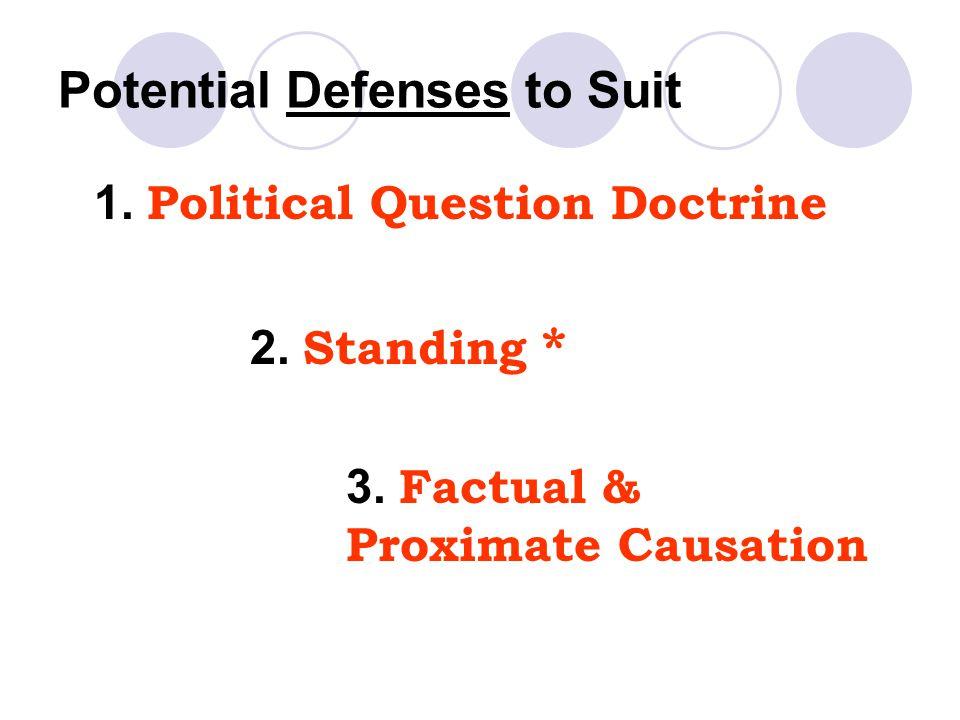 Potential Defenses to Suit 1.Political Question Doctrine 2.