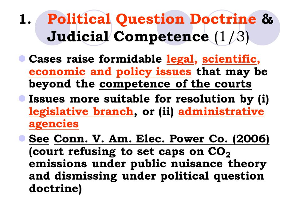 1. Political Question Doctrine & Judicial Competence (1/3) Cases raise formidable legal, scientific, economic and policy issues that may be beyond the