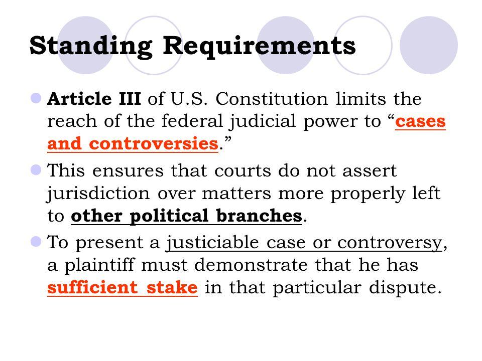 Standing Requirements Article III of U.S.