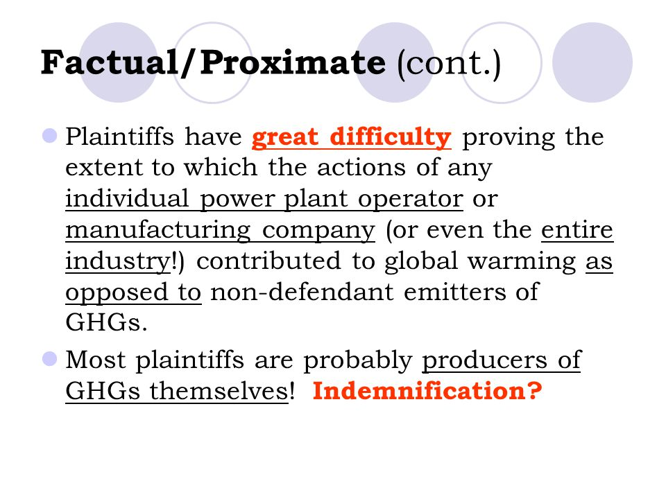 Factual/Proximate (cont.) Plaintiffs have great difficulty proving the extent to which the actions of any individual power plant operator or manufacturing company (or even the entire industry!) contributed to global warming as opposed to non-defendant emitters of GHGs.