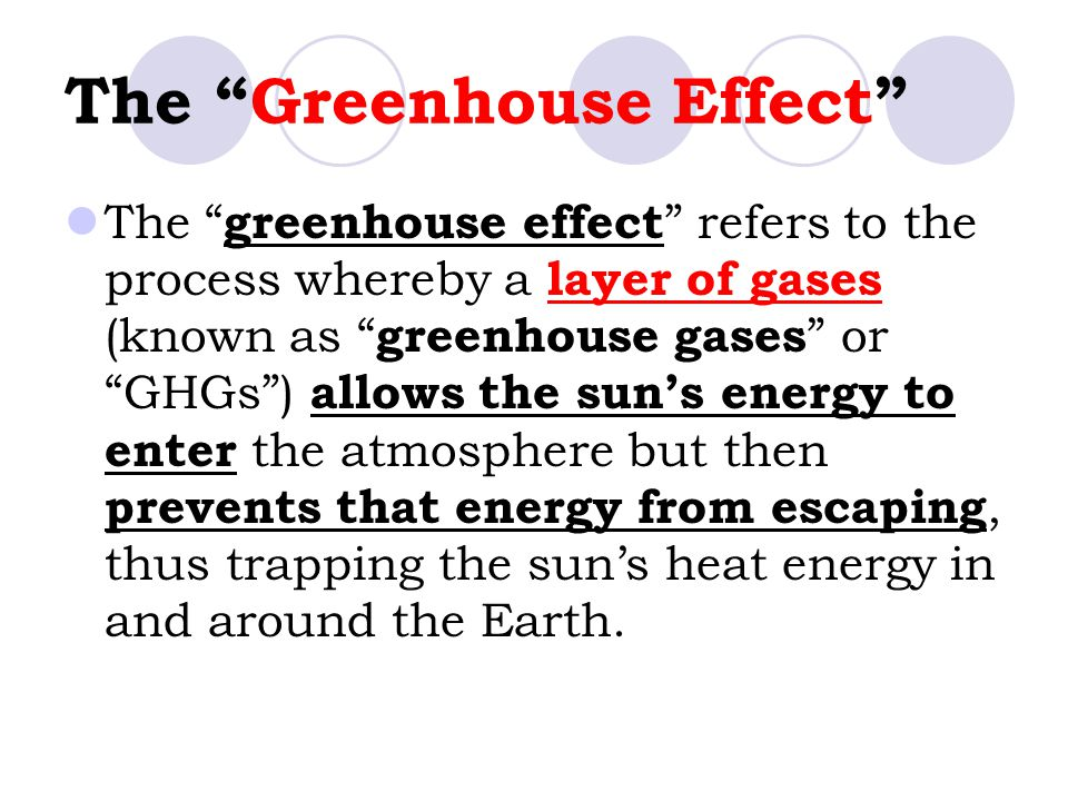 "The ""Greenhouse Effect"" The "" greenhouse effect "" refers to the process whereby a layer of gases (known as "" greenhouse gases "" or ""GHGs"") allows the"