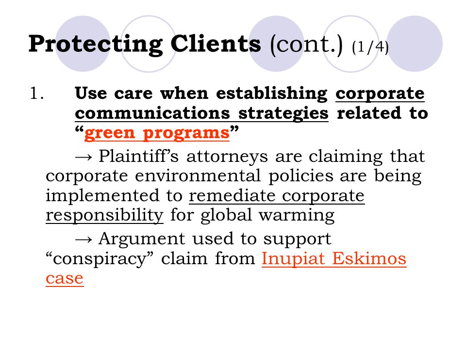 Protecting Clients (cont.) (1/4) 1.