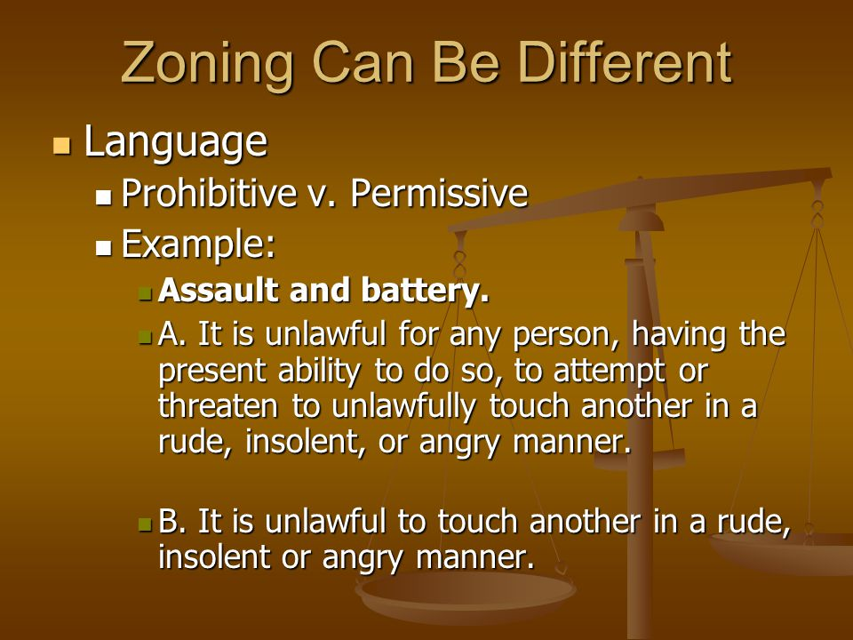 Zoning Can Be Different Language Language Prohibitive v.