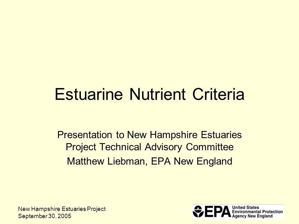 New Hampshire Estuaries Project September 30, 2005 Estuarine Nutrient Criteria Presentation to New Hampshire Estuaries Project Technical Advisory Comm