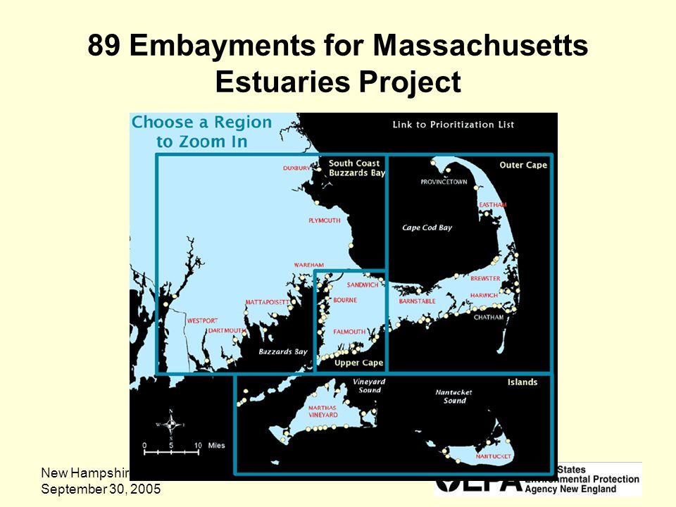 New Hampshire Estuaries Project September 30, 2005 89 Embayments for Massachusetts Estuaries Project