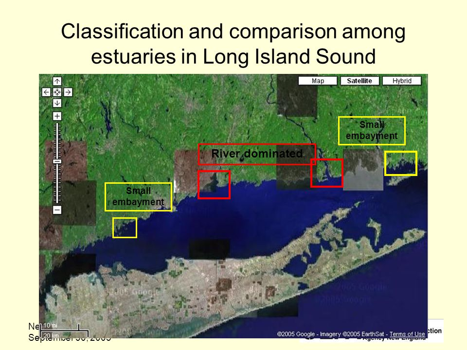 New Hampshire Estuaries Project September 30, 2005 Classification and comparison among estuaries in Long Island Sound River dominated Small embayment