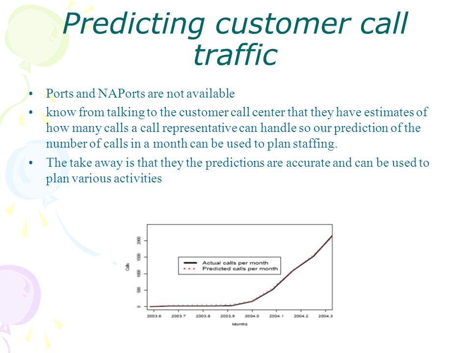 Predicting customer call traffic Ports and NAPorts are not available know from talking to the customer call center that they have estimates of how many calls a call representative can handle so our prediction of the number of calls in a month can be used to plan staffing.